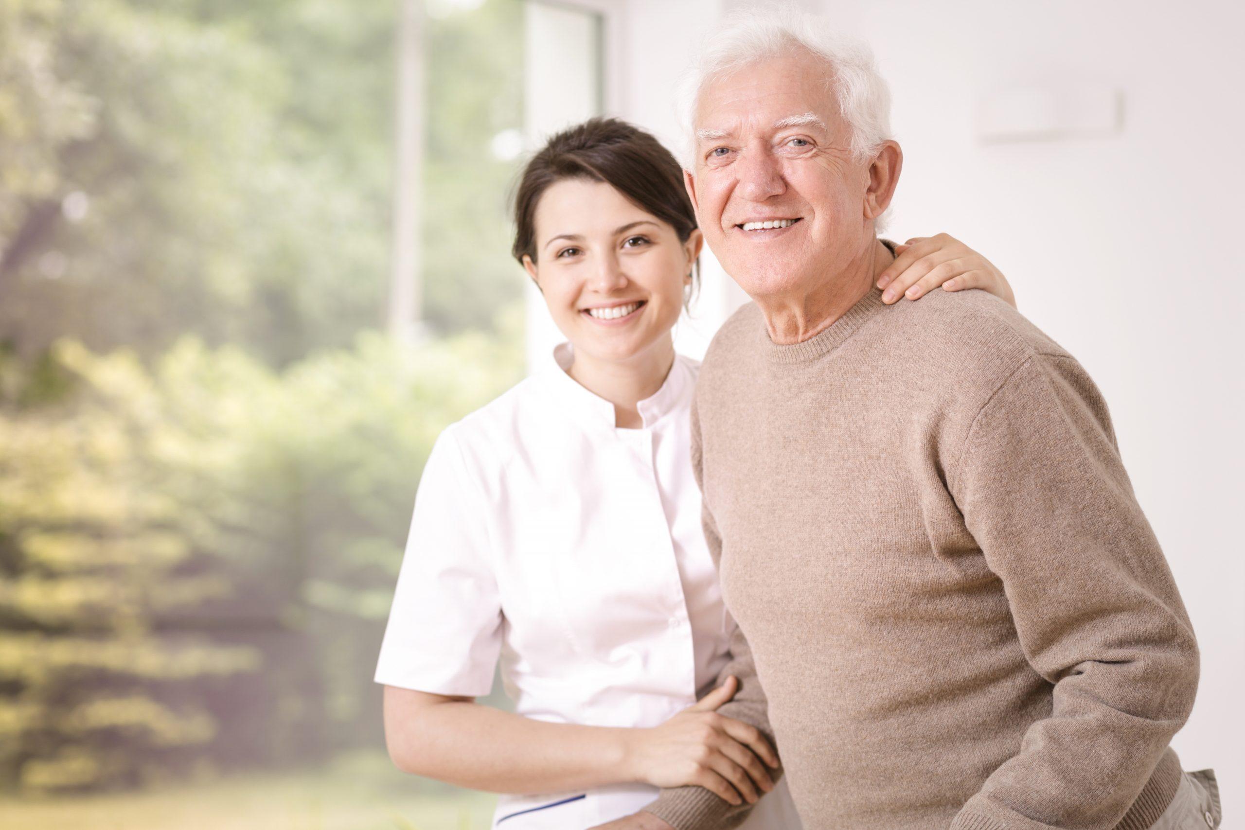 Friendly smiling caregiver